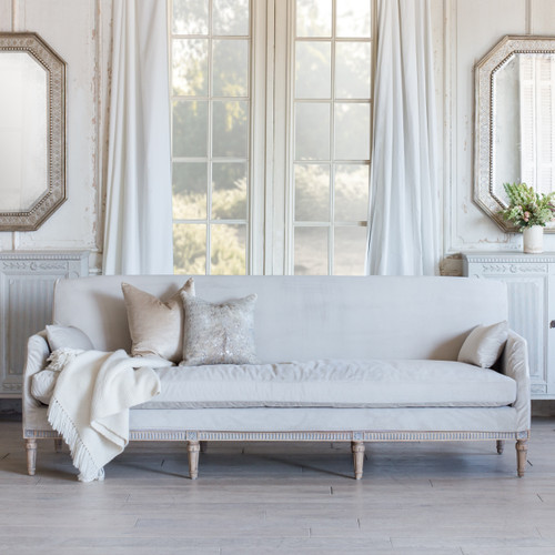 Eloquence® Louis Cannes Sofa in Cloudy Velvet Slip Cover and Starboard Oak Finish