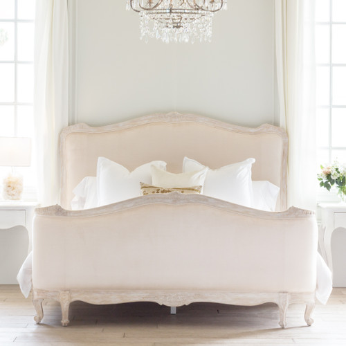 Eloquence® Sophia Bed in Shell Velvet and Lime-Washed Oak Finish