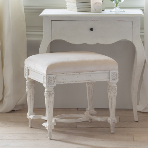 Eloquence® Constance Stool in Shell Velvet and Weathered White Finish