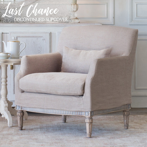 Eloquence® Extra Slipcover in Natural Linen for Louis Cannes Bergere 3/4 Angle