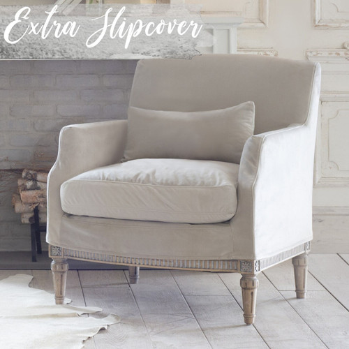Eloquence® Extra Slipcover in Cloudy Velvet for Louis Cannes Bergere 3/4 Angle