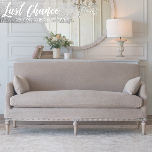 Eloquence® Extra Slipcover in Natural Linen for Louis Cannes Loveseat Front View
