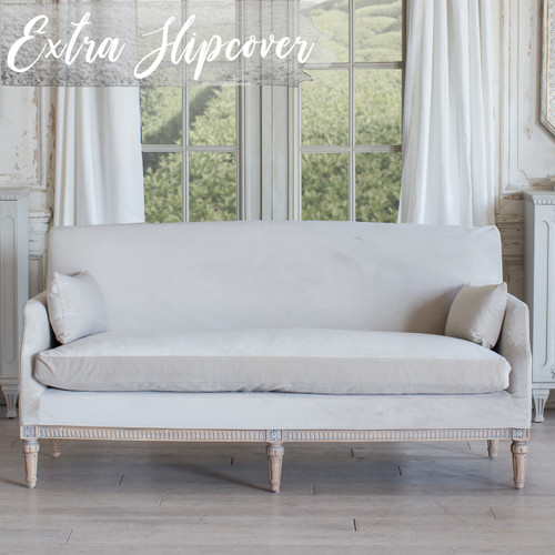 Eloquence® Extra Slipcover in Cloudy Velvet for Louis Cannes Loveseat Front View