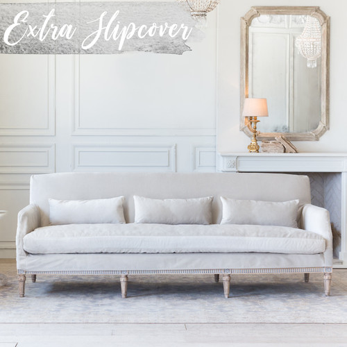 Eloquence® Extra Slipcover in Cloudy Velvet for Louis Cannes Sofa Front View