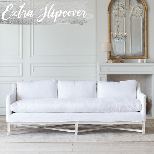 Eloquence® Extra Slipcover in Whispy White Linen for Scandinavian Sofa Front View.