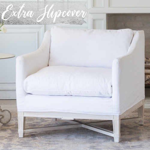 Eloquence® Extra Slipcover in Whispy White Linen for Scandinavian Bergere 3/4 Angle View.