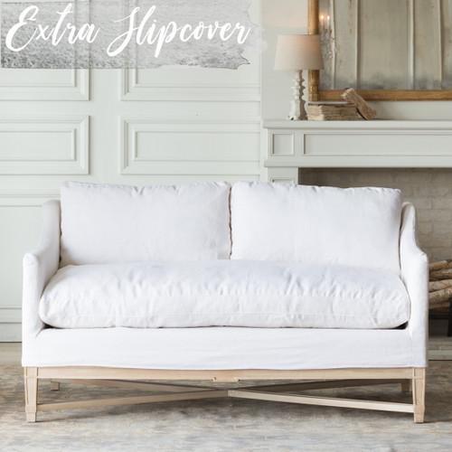 Eloquence® Extra Slipcover in Whispy White Linen for Scandinavian Loveseat