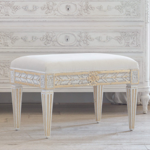 Eloquence® Anais Stool in Ivory Velvet and Antique White with Gold Leaf Finish