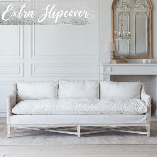 Eloquence® Extra Slipcover in Dove Velvet for Scandinavian Sofa Front View.