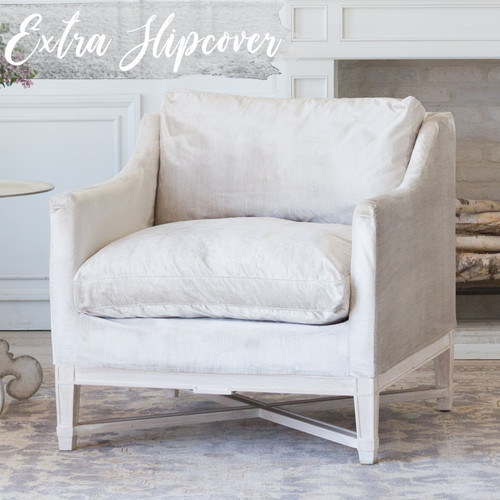 Eloquence® Extra Slipcover in Dove Velvet for Scandinavian Bergere 3/4 Angle View. Text: Extra Slipcover in Stock.