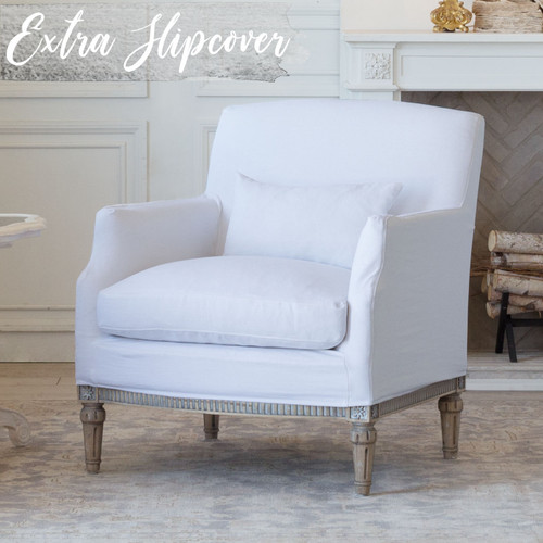 Eloquence® Extra Slipcover in Whispy White Linen for Louis Cannes Bergere 3/4 Angle