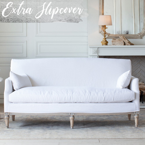 Eloquence® Extra Slipcover in Whispy White Linen for Louis Cannes Loveseat Front View
