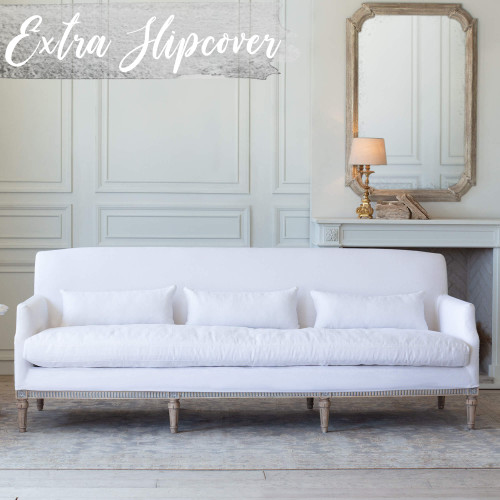 Eloquence® Extra Slipcover in Whispy White Linen for Louis Cannes Sofa Front View