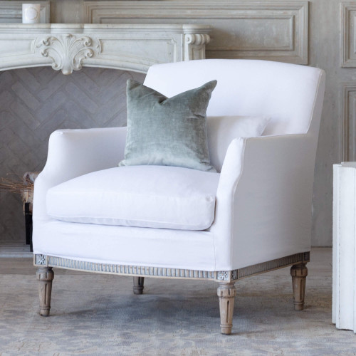 Eloquence® Louis Cannes Bergere in Whispy White Linen Slipcover and Starboard Oak Finish