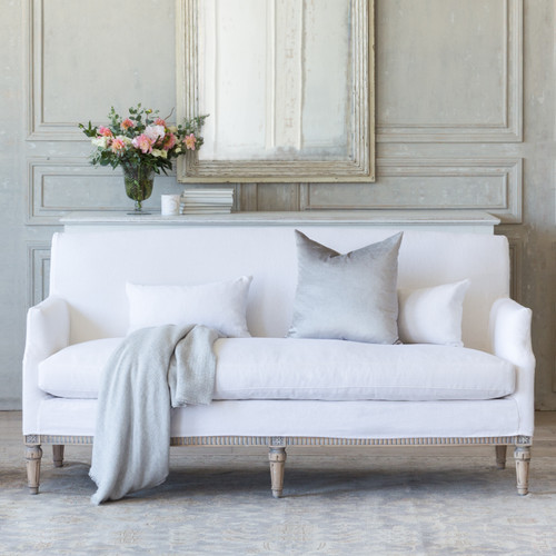 Eloquence® Louis Cannes Loveseat in Whispy White Linen Slipcover and Starboard Oak Finish