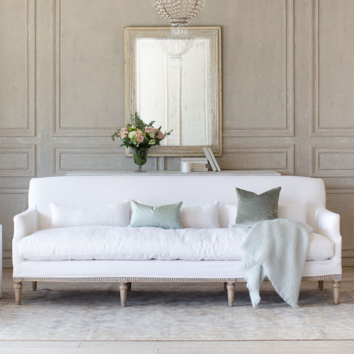 Eloquence® Louis Cannes Sofa in Whispy White Linen Slipcover and Starboard Oak Finish