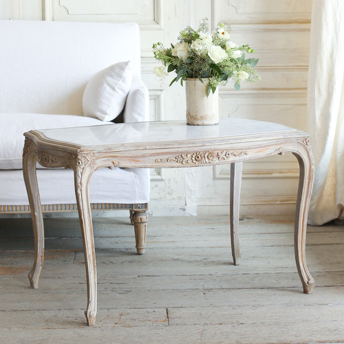 Vintage Tall Weathered Grey Coffee Table with Marble Top  TCVM77089