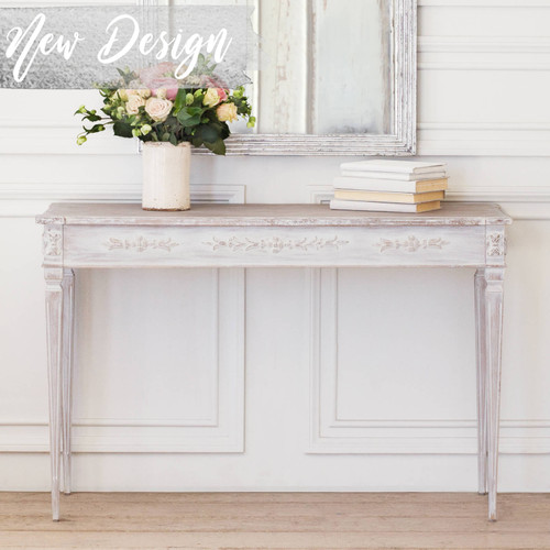 Eloquence® Zinnia Console in White Mist Finish Thumbnail. Text: New Design