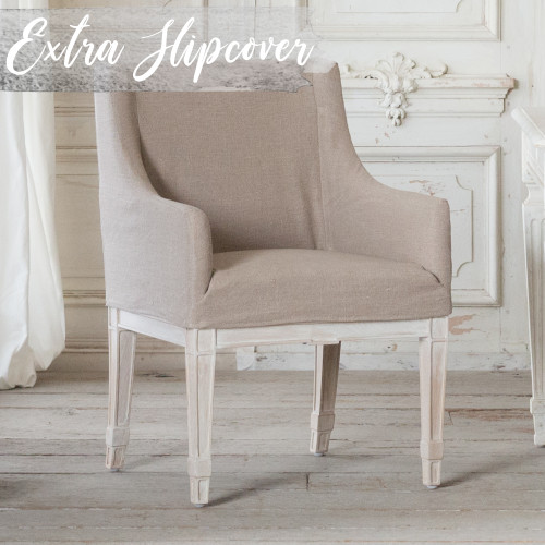 Eloquence® Extra Slipcover in Natural Linen for Scandinavian Dining Chair 3/4 Angle. Text: Extra Slipcover