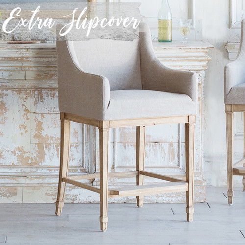 Eloquence® Extra Slipcover in Natural Linen for Scandinavian Counter Chair 3/4 Angle. Text: Extra Slipcover
