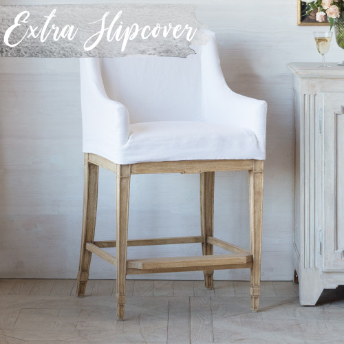 Eloquence® Extra Slipcover in Whispy White Linen for Scandinavian Counter Chair 3/4 Angle. Text: Extra Slipcover