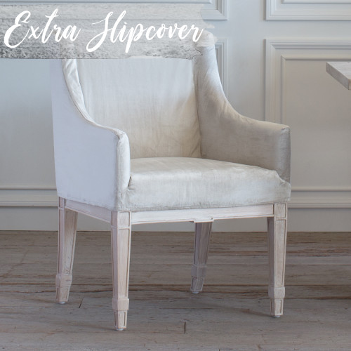 Eloquence® Extra Slipcover in Dove Velvet for Scandinavian Dining Chair 3/4 Angle View. Text: Extra Slipcover