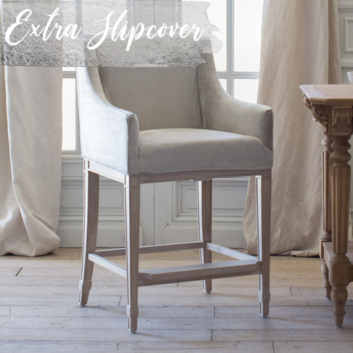 Eloquence® Extra Slipcover in Dove Velvet for Scandinavian Counter Chair 3/4 Angle. Text: Extra Slipcover