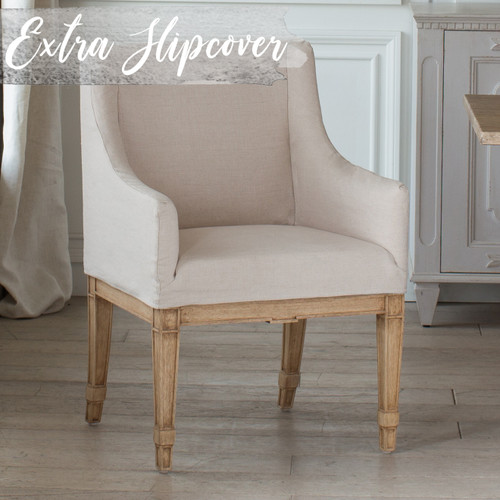Eloquence® Extra Slipcover in Harvest Linen for Scandinavian Dining Chair 3/4 Angle. Text: Extra Slipcover