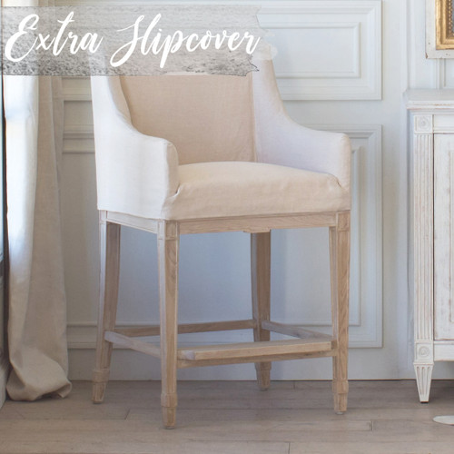 Eloquence® Extra Slipcover in Harvest Linen for Scandinavian Counter Chair 3/4 View. Text: Extra Slipcover