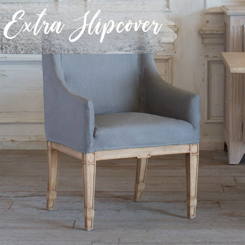 Eloquence® Extra Slipcover in Slate Grey Linen for Scandinavian Dining Chair 3/4 Angle with Text: Extra Slipcover