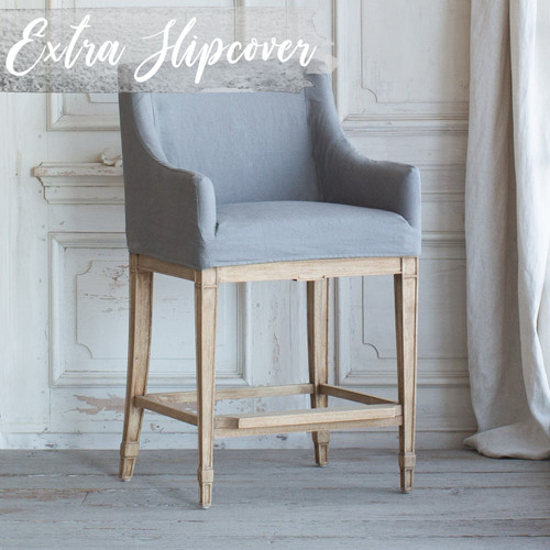 Eloquence® Extra Slipcover in Slate Grey Linen for Scandinavian Counter Chair 3/4 Angle. Text: Extra Slipcover