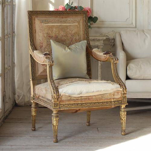 Antique Louis XVI Armchair from Fontainebleau Royal Castle AVP21003