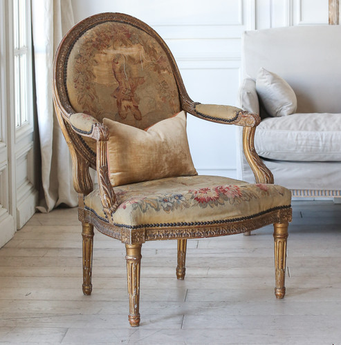 Pair of Antique Aubusson Armchairs AVP21015-1