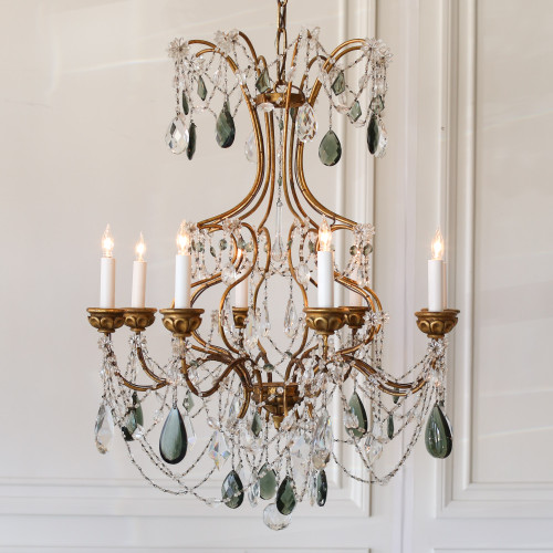 Vintage Chandelier with Green Crystals CHVP21042
