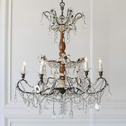 Vintage Gilt Chandelier with Crystal Flowers CHVP21043