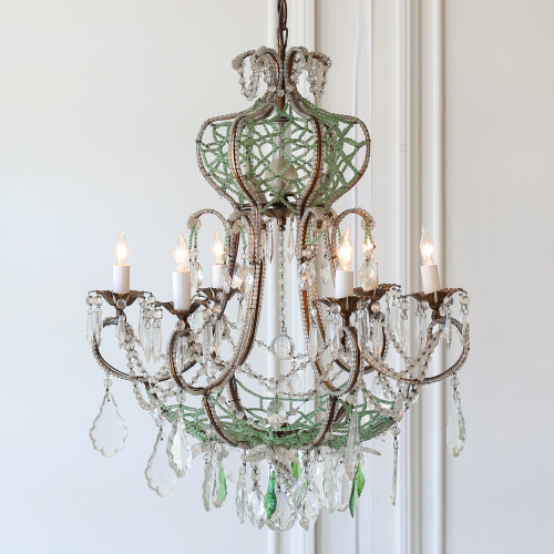 Petite Vintage Green Beaded Chandelier CHVP21044