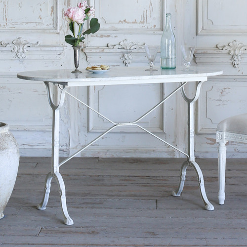 Vintage Whitewash Bistro Table with Oval Marble Top TVP21084-1