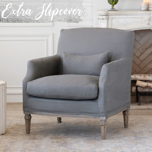 Eloquence® Extra Slipcover in Slate Grey Linen for Louis Cannes Bergere