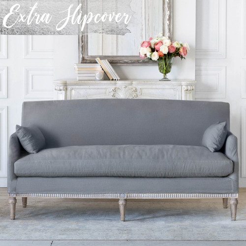 Eloquence® Extra Slipcover in Slate Grey Linen for Louis Cannes Loveseat