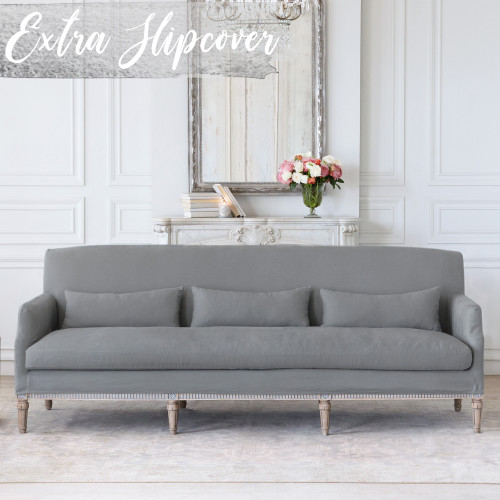Eloquence® Extra Slipcover in Slate Grey Linen for Louis Cannes Sofa Thumbnail