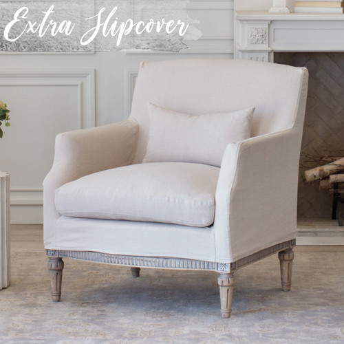 Eloquence® Extra Slipcover in Harvest Linen for Louis Cannes Bergere