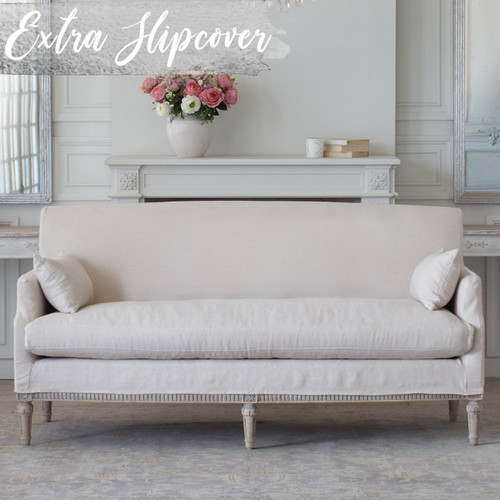 Eloquence® Extra Slipcover in Harvest Linen for Louis Cannes Loveseat