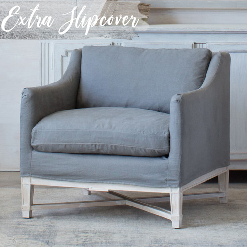 Eloquence® Extra Slipcover in Slate Grey Linen for Scandinavian Bergere