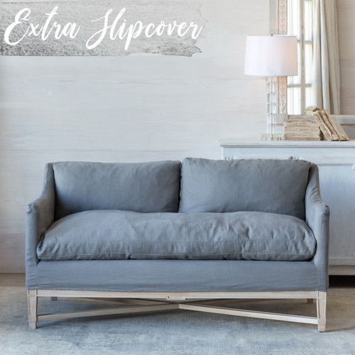 Eloquence® Extra Slipcover in Slate Grey Linen for Scandinavian Loveseat