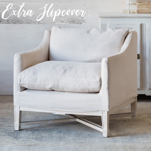 Eloquence® Extra Slipcover in Harvest Linen for Scandinavian Bergere