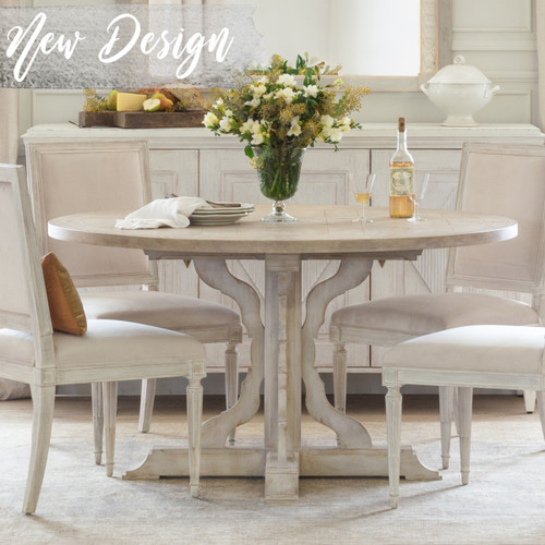Eloquence® Round Thoreau Dining Table in Danish White Finish