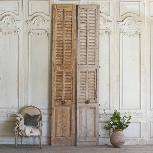 Pair of Vintage Grande Wooden Shutters AEVM78023