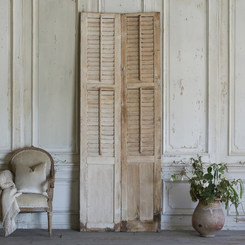 Pair of Vintage Whitewashed Shutters AEVM78051