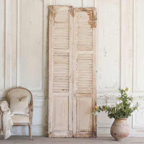 Pair of Vintage Whitewashed Shutters AEVM78052