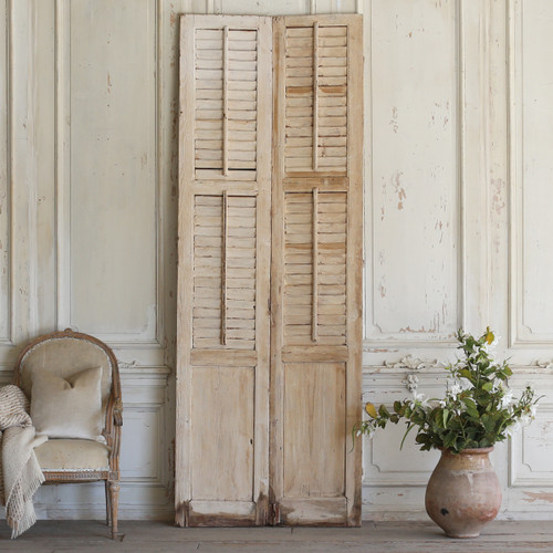Pair of Vintage Whitewashed Shutters AEVM78053
